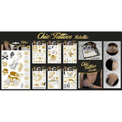 Bijoux Chic Tattoos Métallic 20 x 15 Cm 6 Assortis