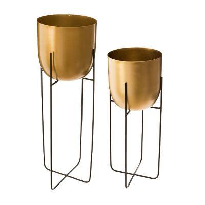 Pot Rond Metal Doré Support X2