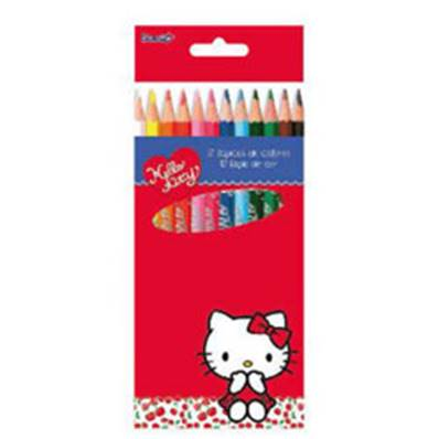Crayons de Couleurs HELLO KITTY 12 Pièces