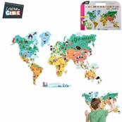 Sticker Carte Monde Aimanté avec 25 Aimants