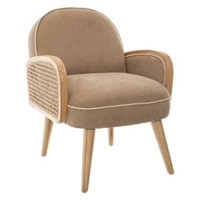 Fauteuil Cannage Enfant Taupe