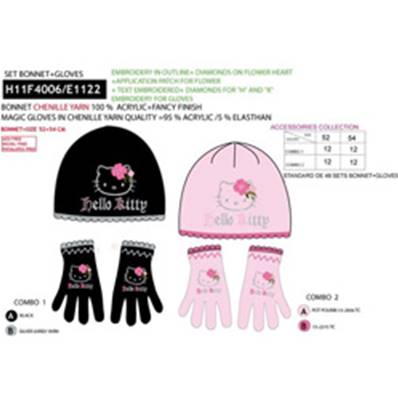 Set Bonnet + Gants HELLO KITTY 4 (taille unique)