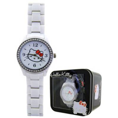 Montre Blanche Strass HELLO KITTY